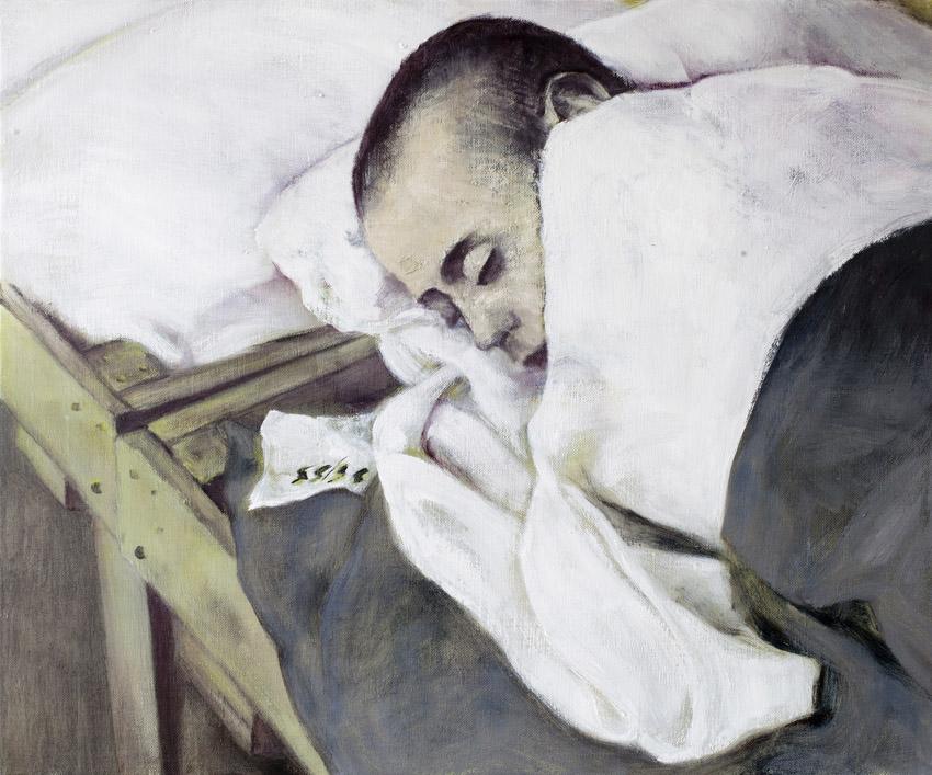 Sarjasta Välskärin (kertomattomat) kertomukset #14, vanki  Öljy kankaalle 54 x65 cm 2014–2015