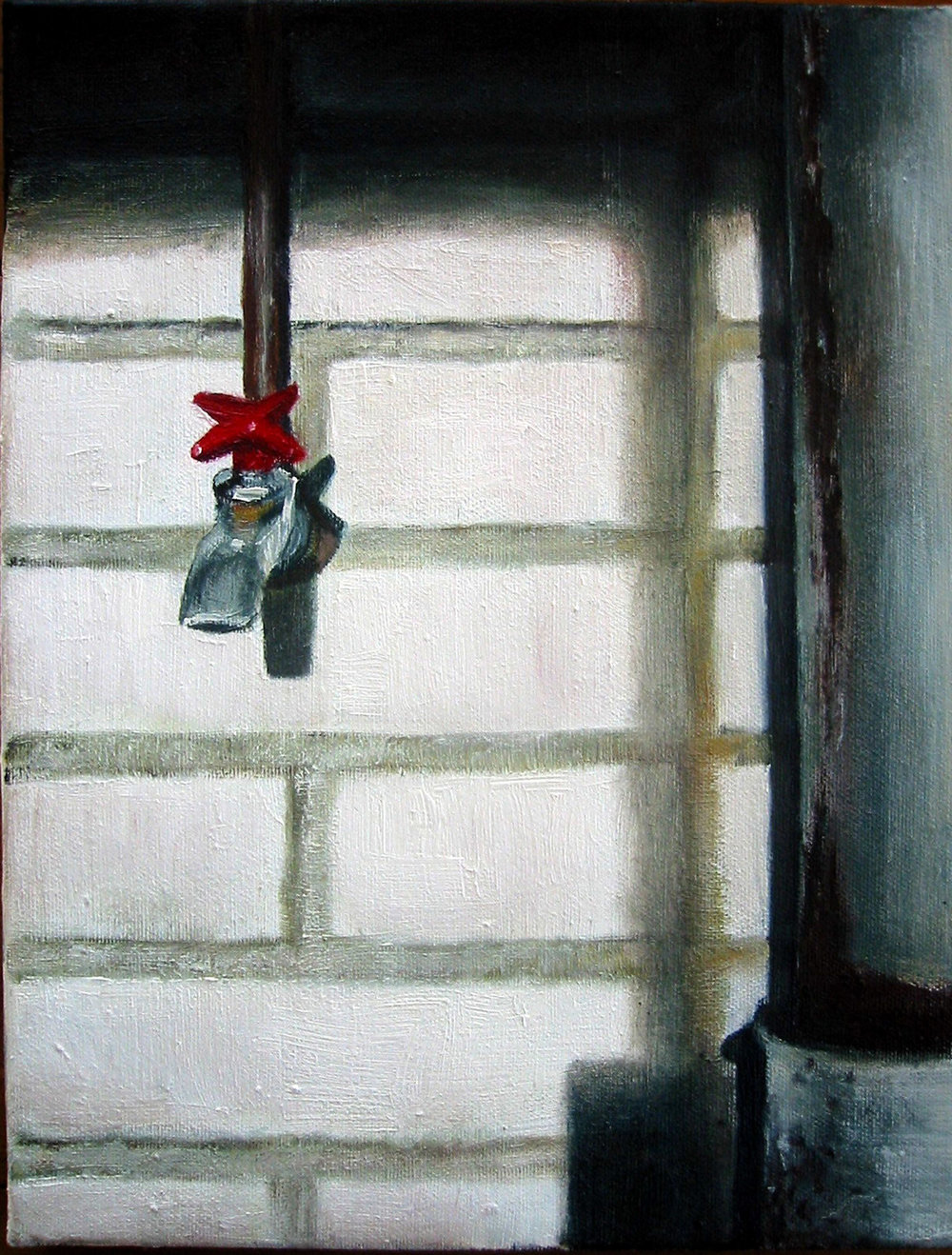 Interior with red tap  Oil on canvas 35x27 cm 2004