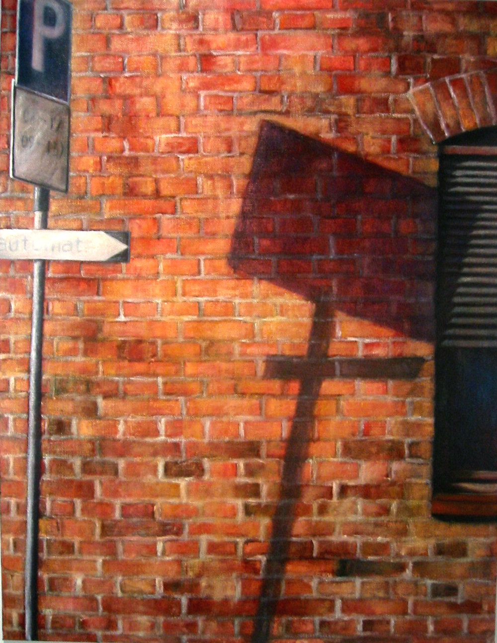 Exterior with parking sign  Oil on canvas 130x100 cm 2005