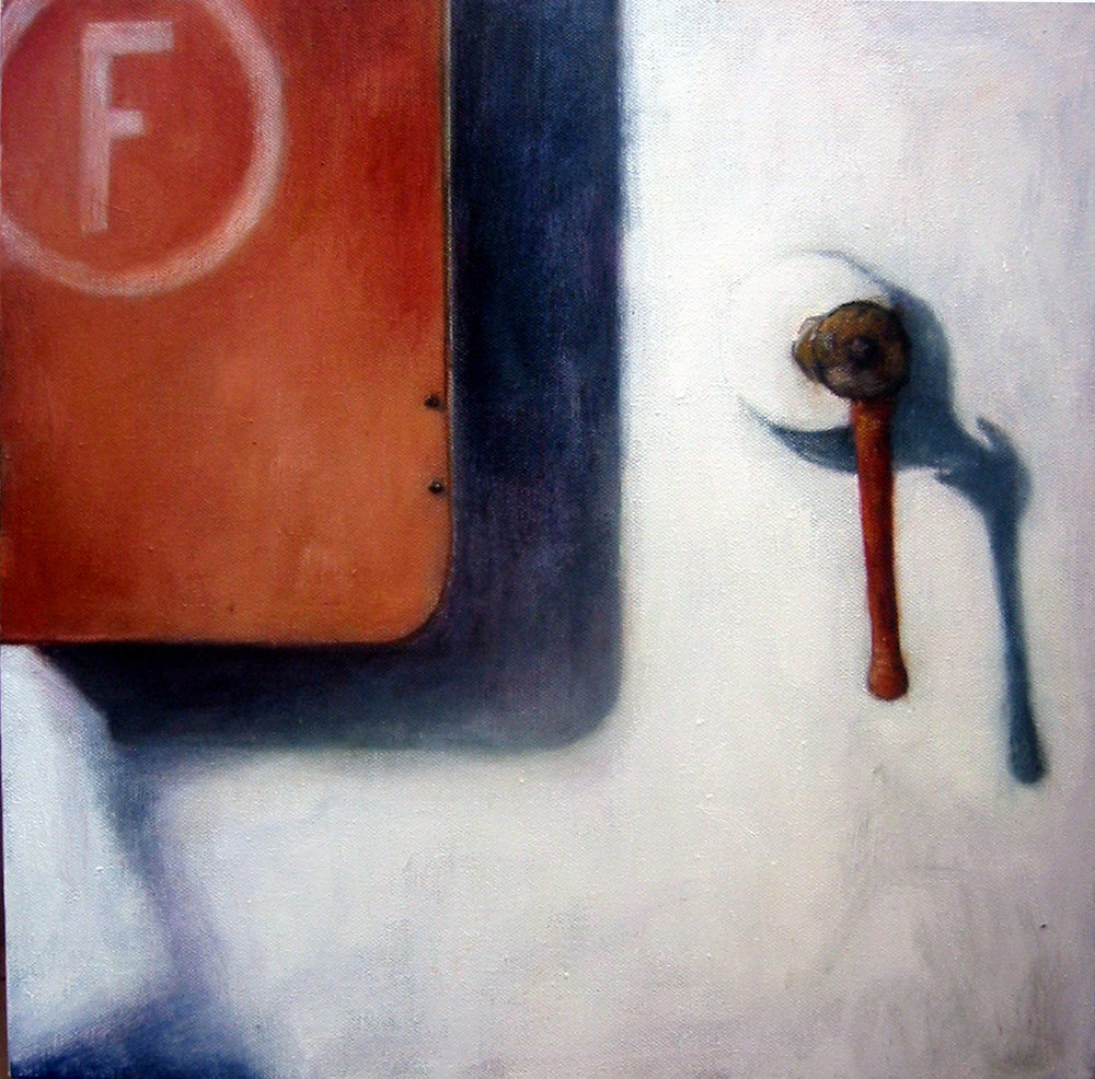 Exterior with red closet  Oil on canvas 40x40 cm 2005