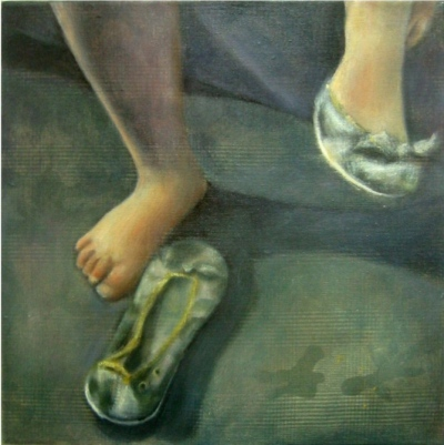 Interior with green shoes  Oil on camouflage canvas 30x30 cm 2006