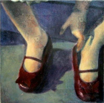 Interior with red shoes  Oil on patterned canvas 24x24 cm 2006