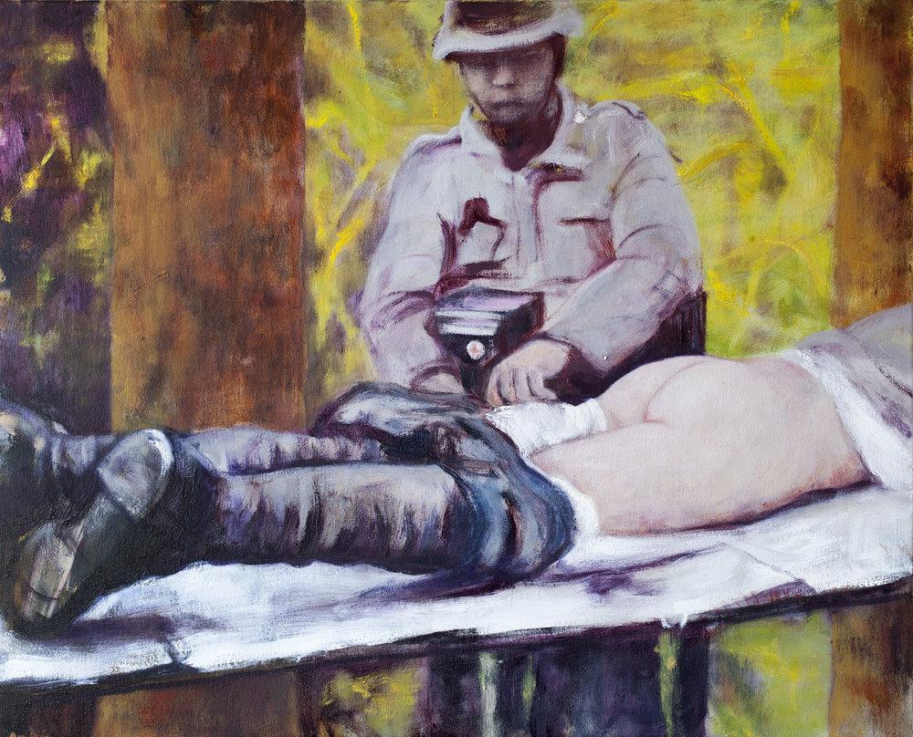 Sarjasta Välskärin (kertomattomat) kertomukset #34  Akryyli ja öljy kankaalle 81 x 100 cm 2017