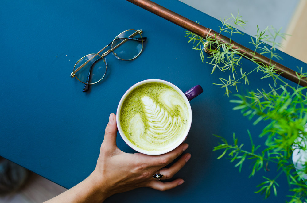 turmeric matcha latte - with whole milk, organic matcha and turmeric, and love