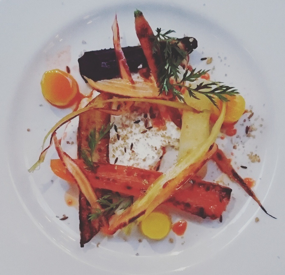 Vegetarians are not overlooked - This sexy carrot dish really whets my appetite and works so well with our Litmus Orange wine - you forget about meat when vegetables taste this good