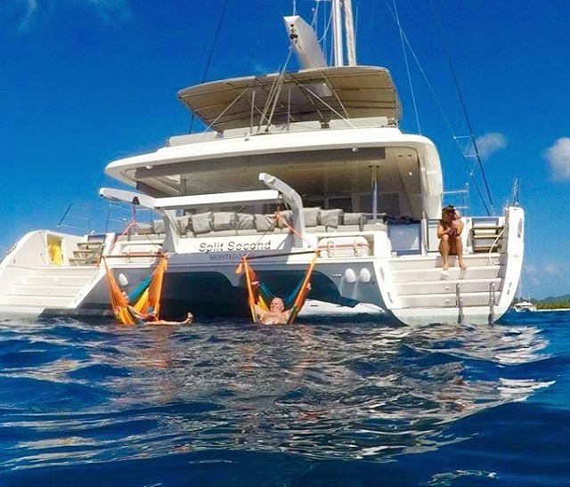Does relaxation get any better? ⛵️☀️👌 . . .  #discovery #wanderlust #sailing #yachtlife #lagoon620 #splitsecond #bvi #virgingorda #peterisland #scrubisland #neckerisland #bviheaven #gourmet #summer2017 #luxury #thebaths #bitterend #boatbookings #yachtlife #lifeofluxury #catamaranlife #gourmet #lunchtime #lobster #champagne