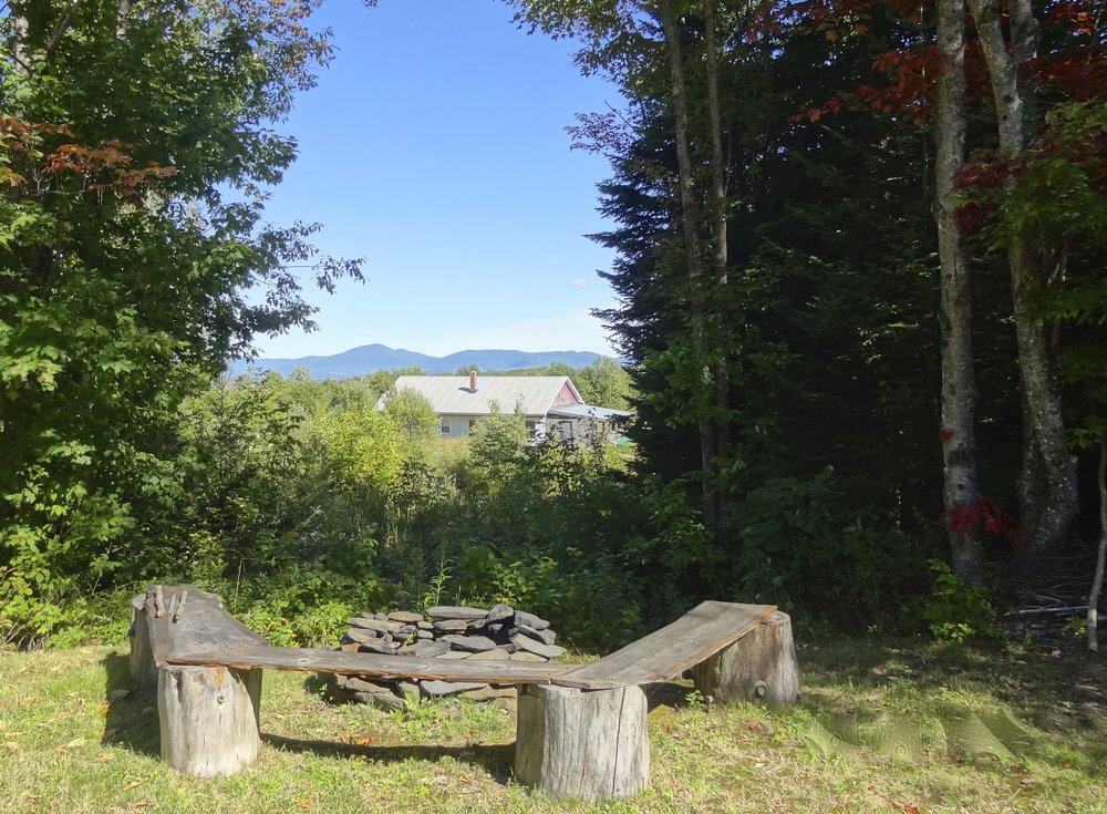 Private Fire pit with view of Burke Mtn. & The White Mountains of NH