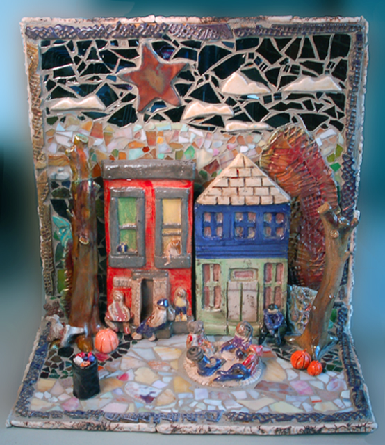 "Our Neighborhood  Student work that juried into NCECA 2012. Won the teacher kiln award and the students won exhibition awards. The diorama is made of raku figures and glass and is 28' H X 13"" D X 16""W"