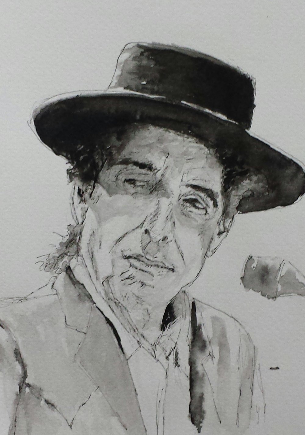 Dylan, 2016, pen and wash.