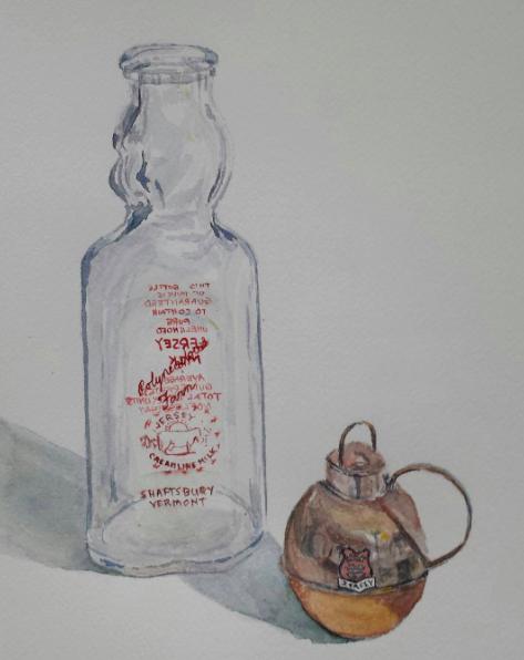 Milk Bottle and Creamer, 2015, watercolor.
