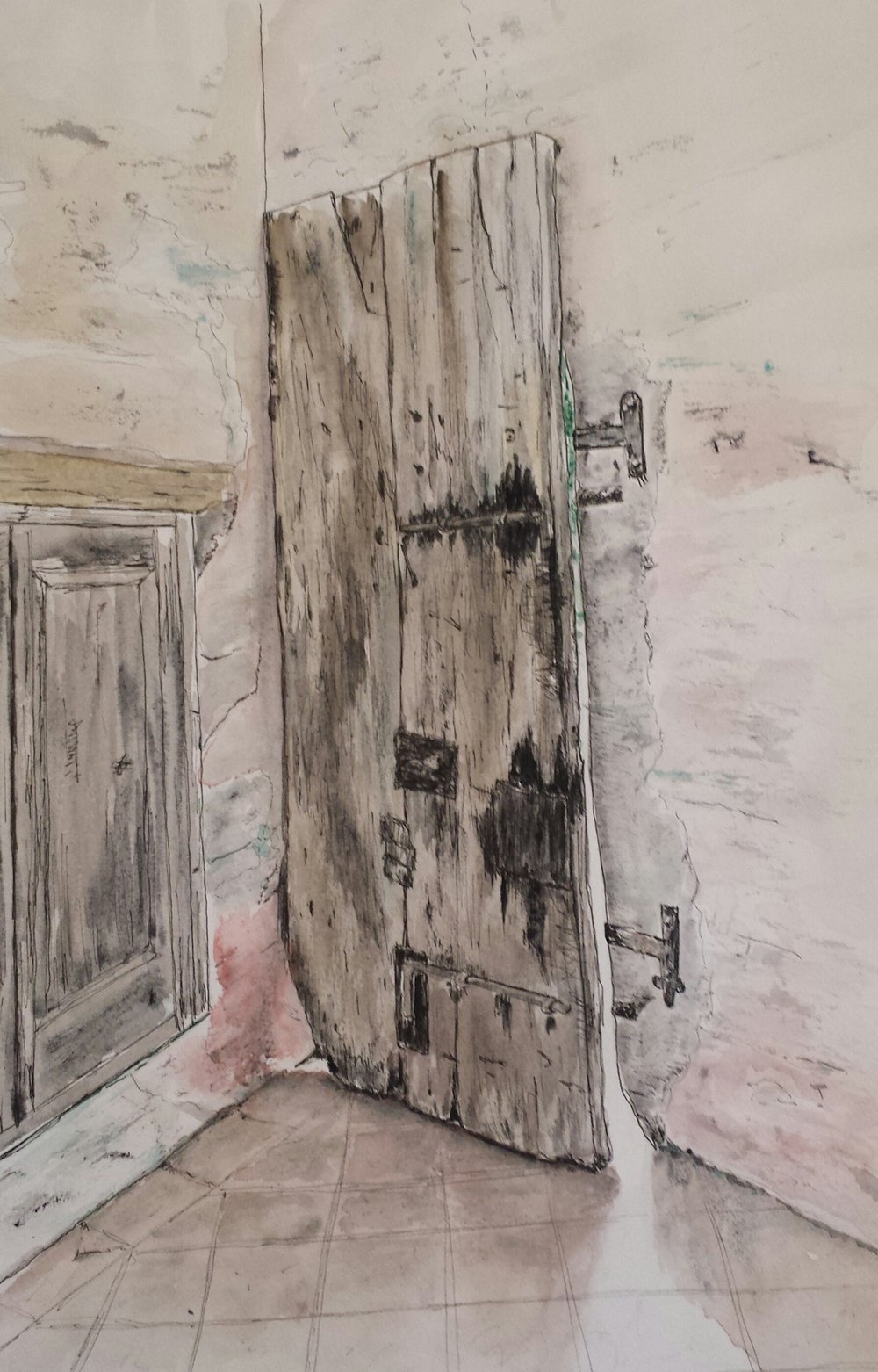 Castle Door II, Orzinuovi, Italy, 2016, pen and wash.