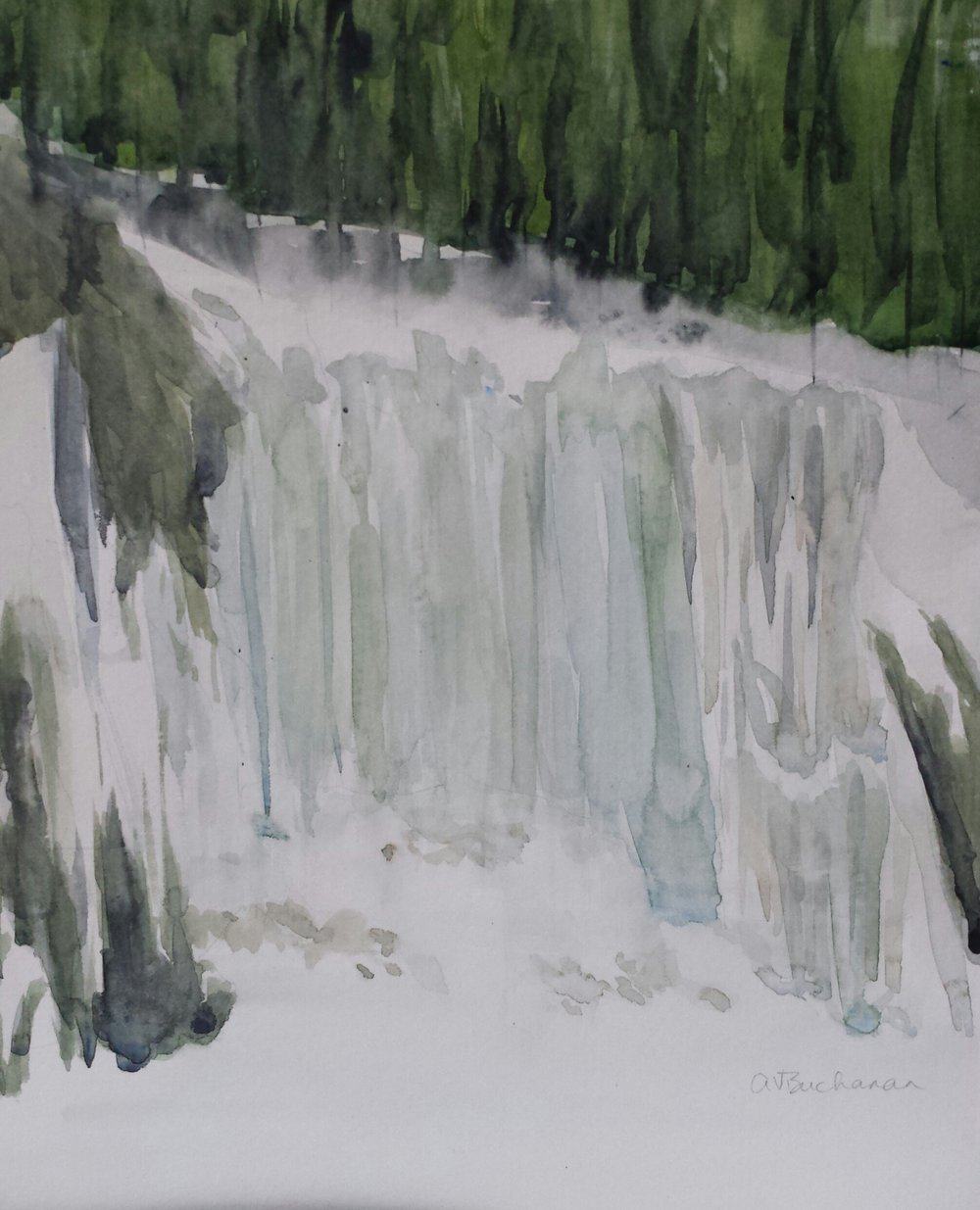 Vermont Waterfall in Winter, 2015, watercolor.
