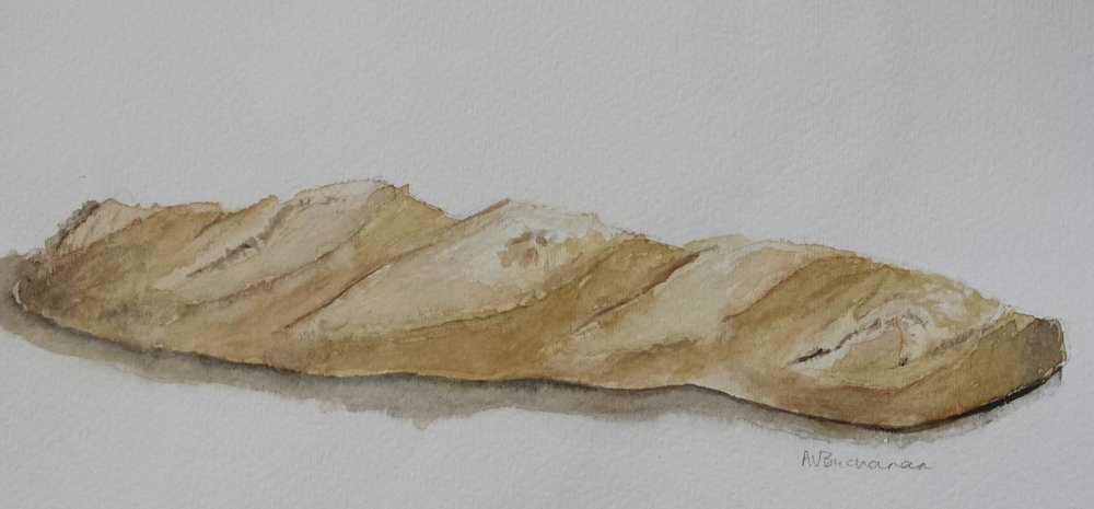 Baguette, 2015, watercolor.
