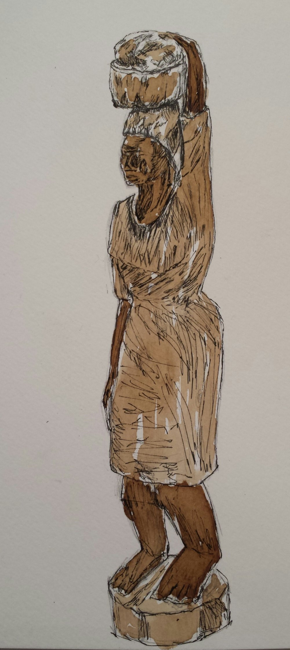Haitian Sculpture, Pen and walnut ink, 2016.