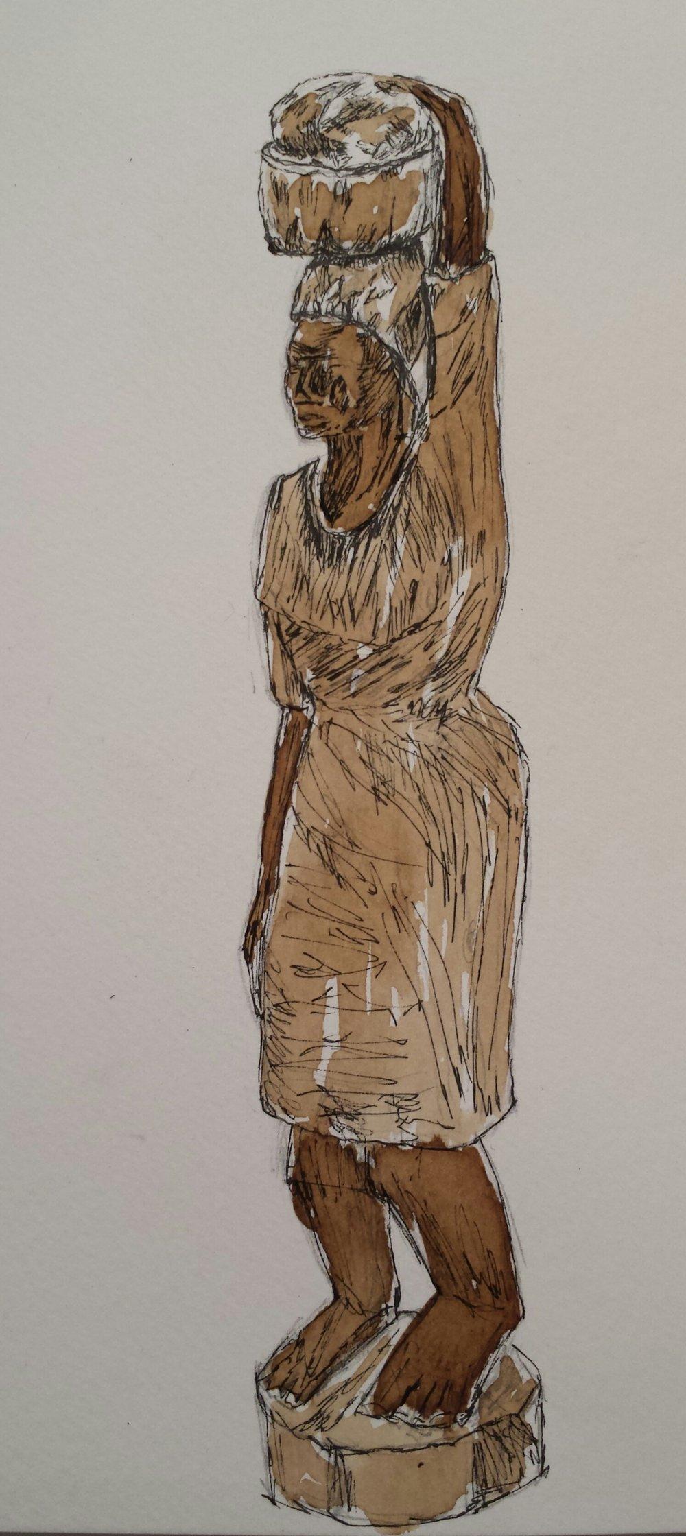 Haitian Sculpture, Pen and walnut ink, 2016.