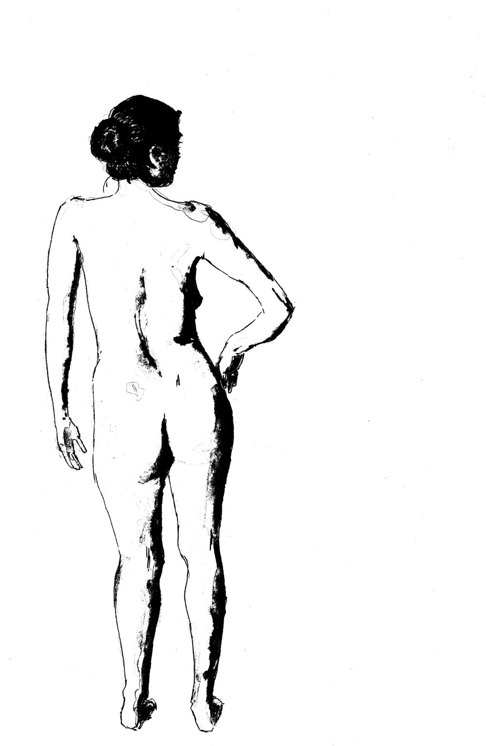 Nude with bun, pen and wash, 2016