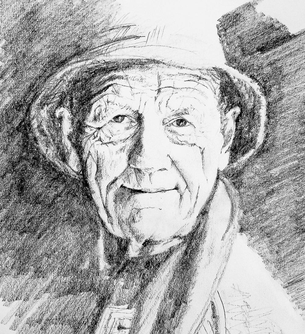 William Trevor, graphite, 2016