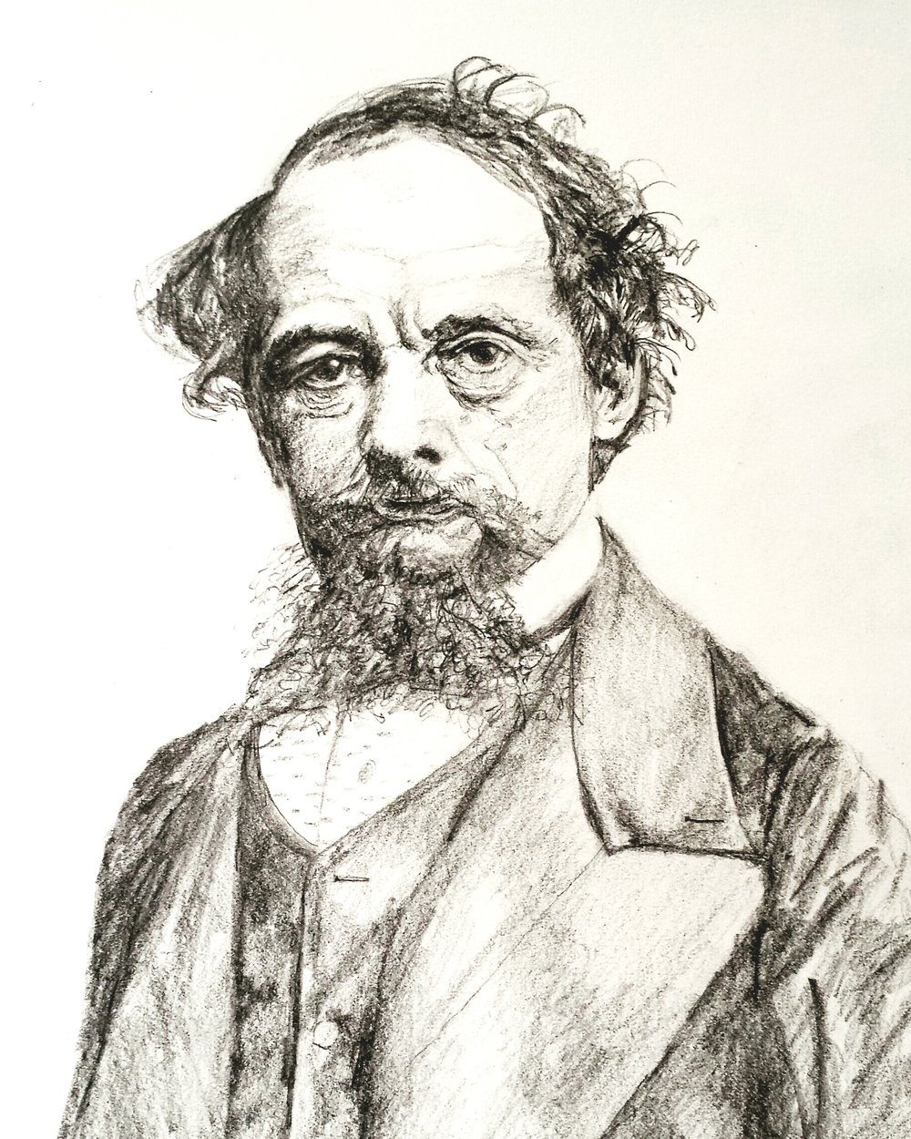 Charles Dickens, graphite, 2016