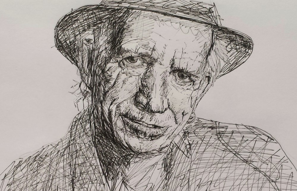 Keith Richards, pen and ink, 2016.