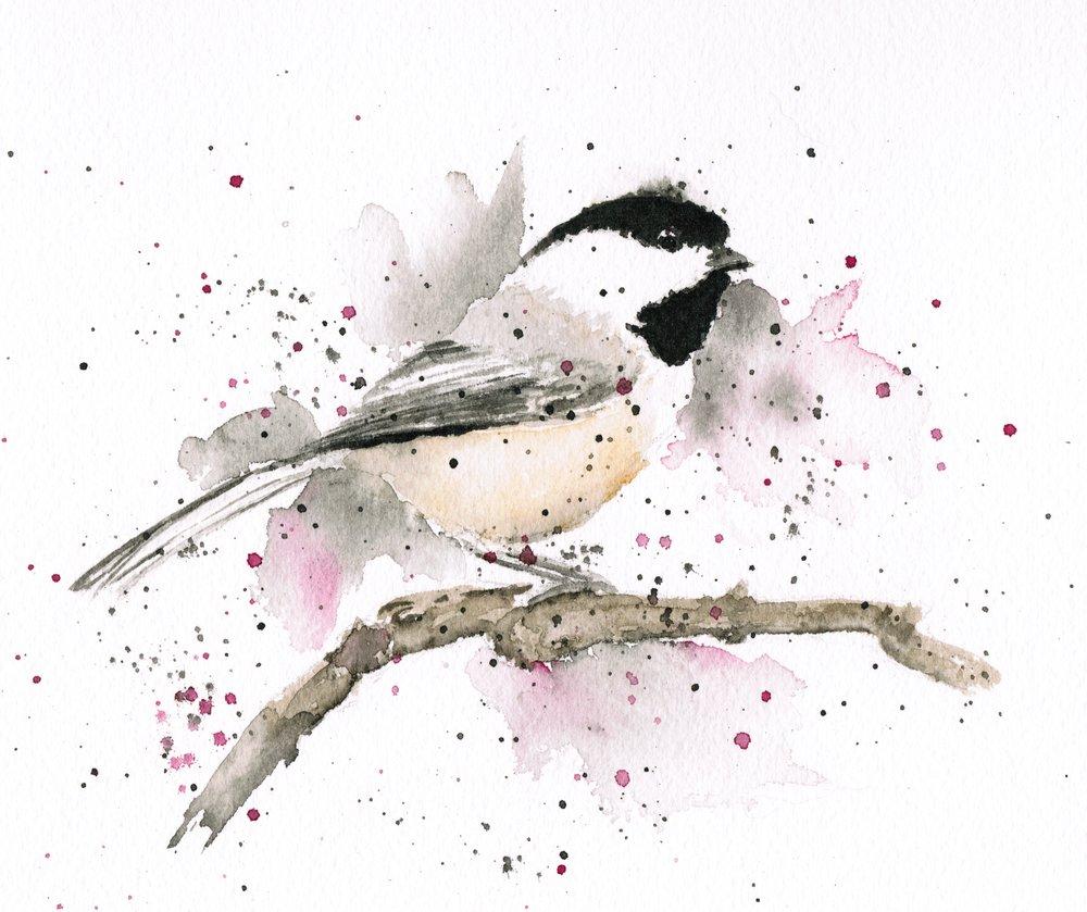 Chickadee, watercolor, 2016