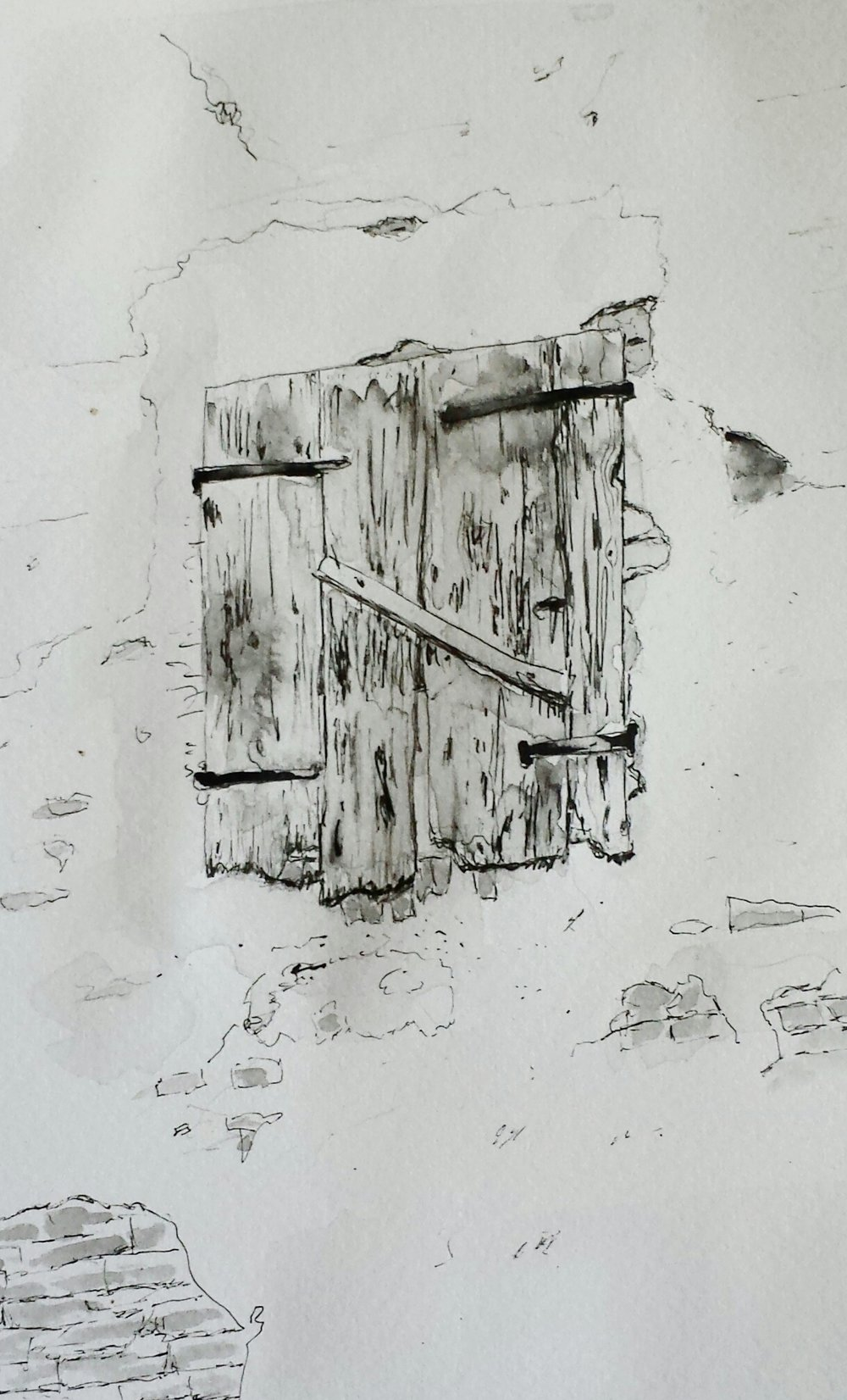 Window, Orzinuovi, Italy, 2016, pen and wash.