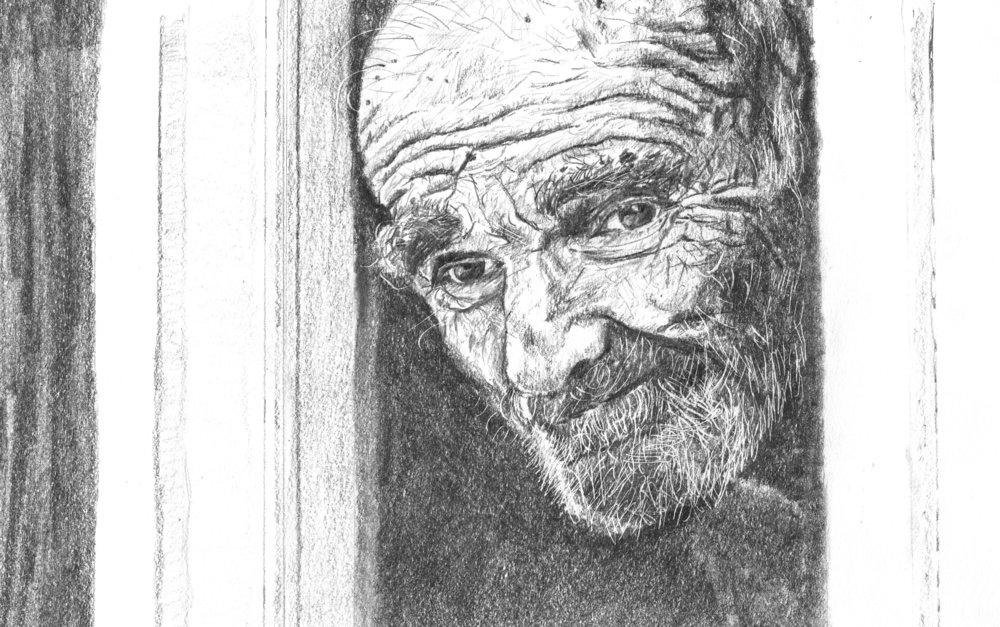 Man with beard, graphite, 2016