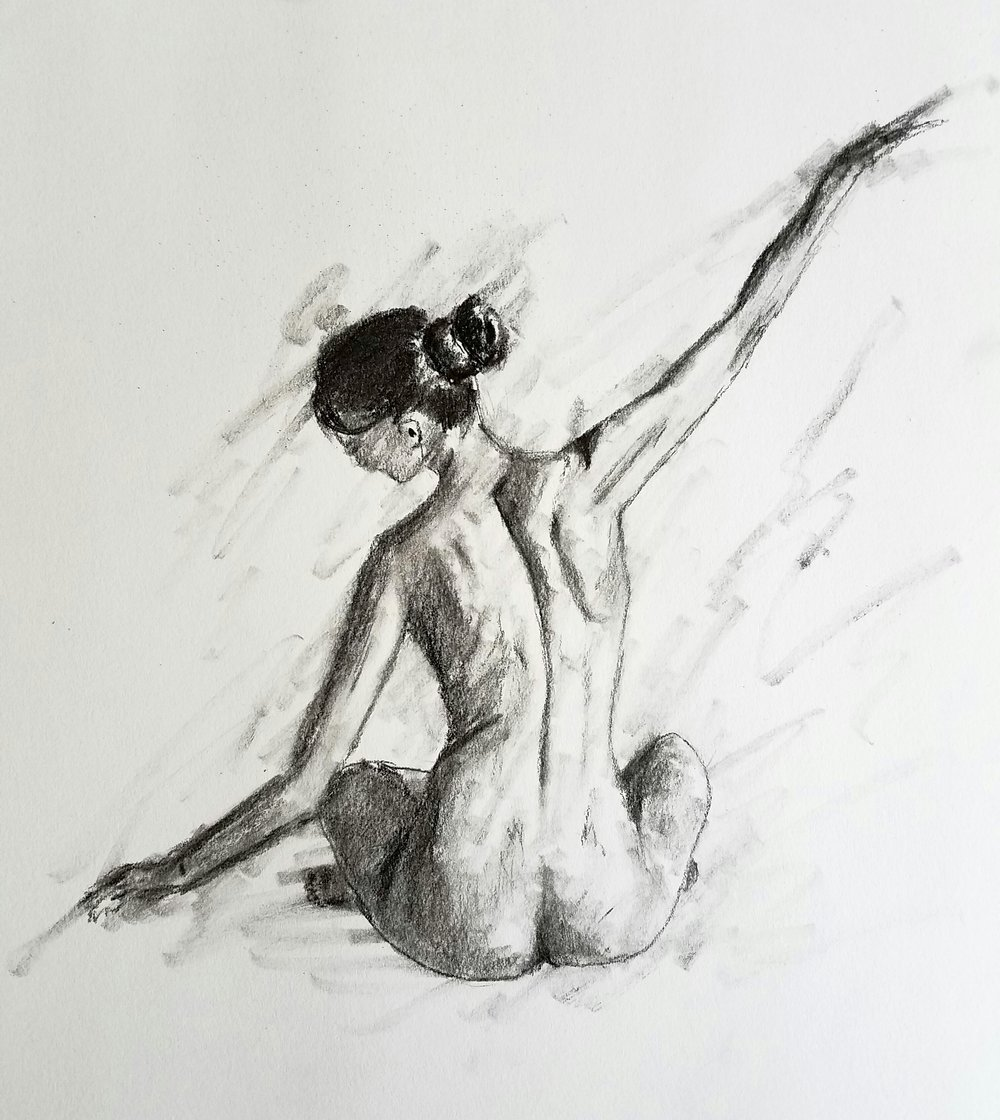 Sitting nude, charcoal, 2016