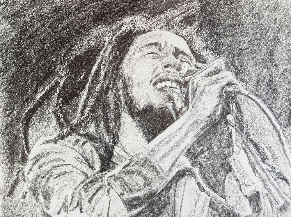 "Bob Marley, graphite, 8 1/2"" x 7 1/2, 2017"