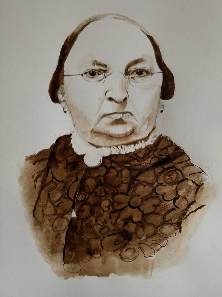 19th century New England woman, pen and black walnut ink, 2017