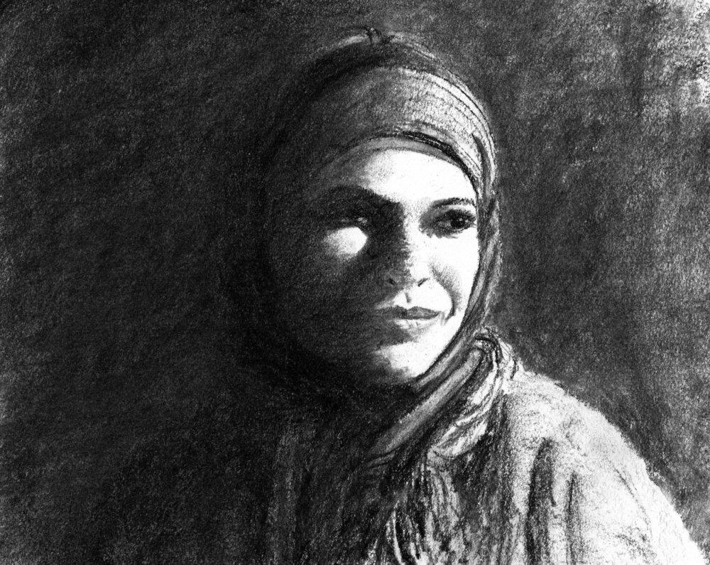 Woman in the Sun, charcoal, 2017