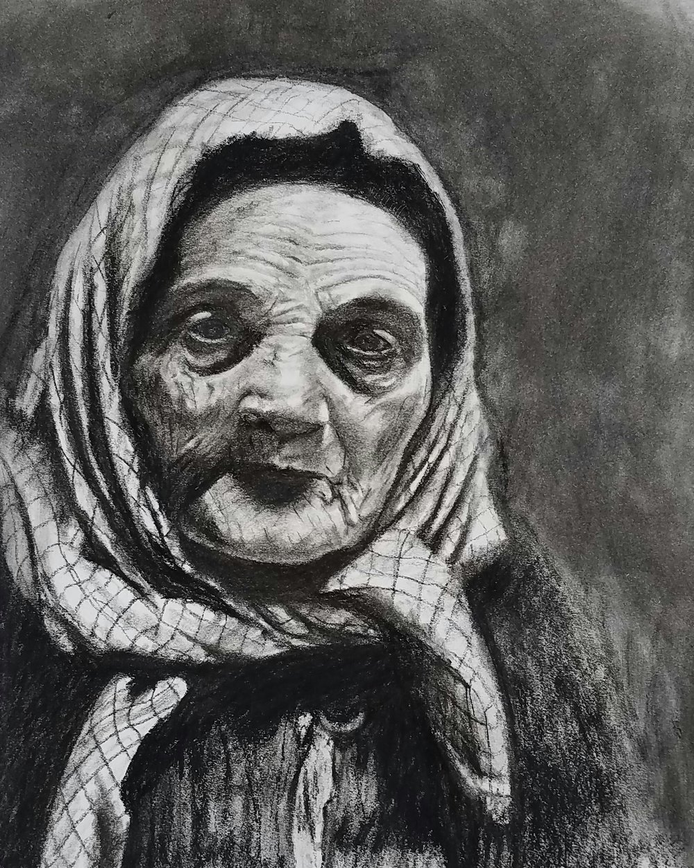 """Italian Grandmother"" at Ellis Island, 1926, from a photo by Lewis Hine; charcoal; 2017"