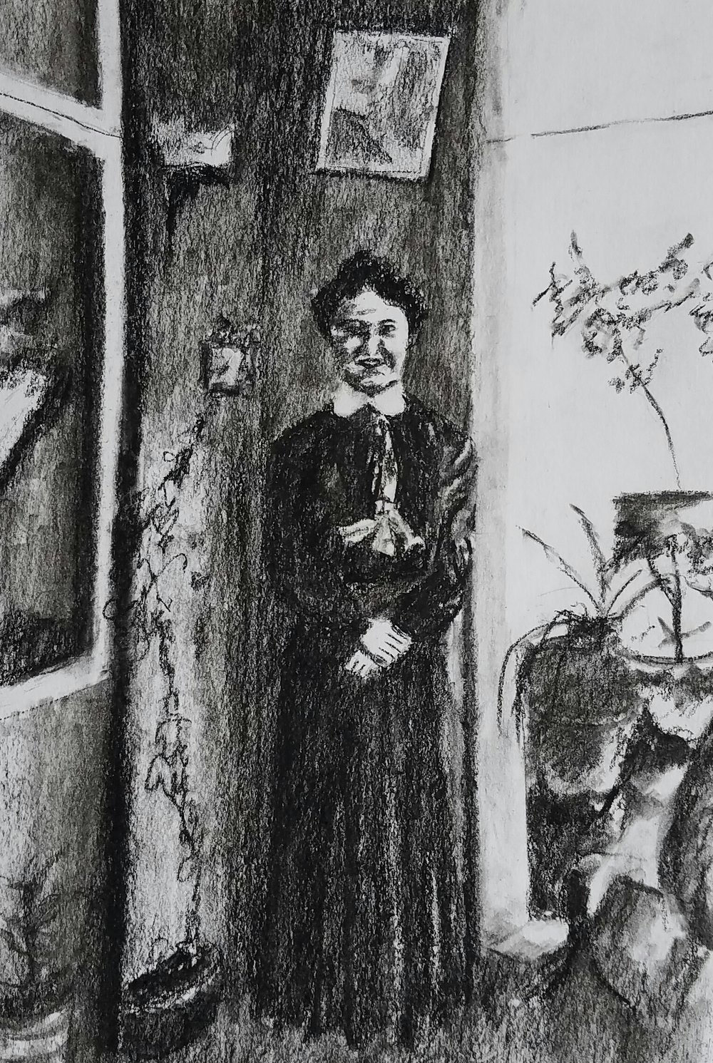 Danish immigrant, early 20th C; graphite; 2017