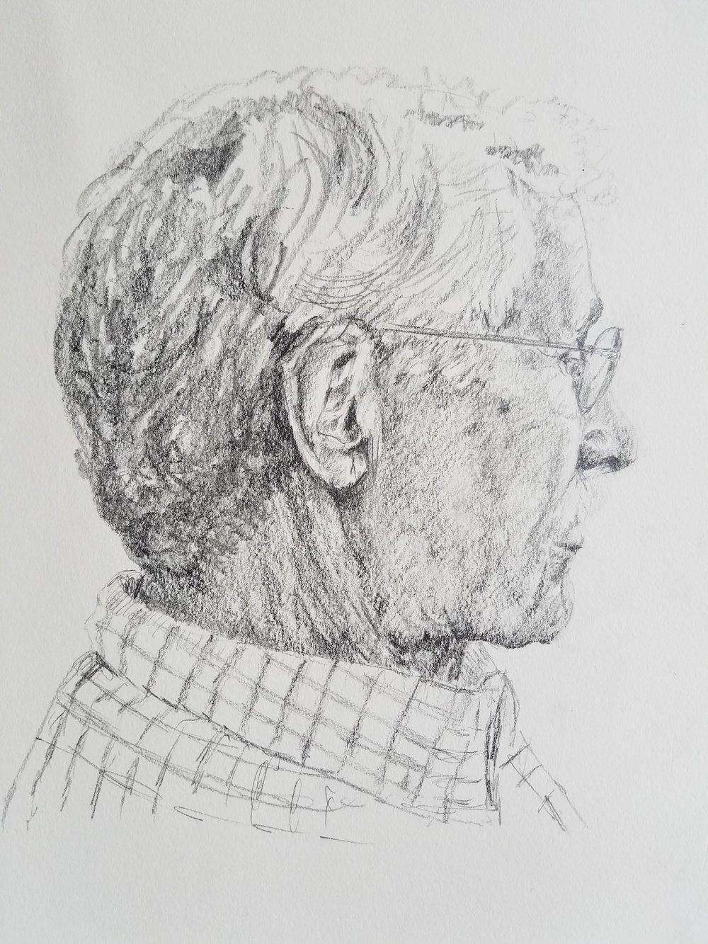 Reading; graphite; 2017