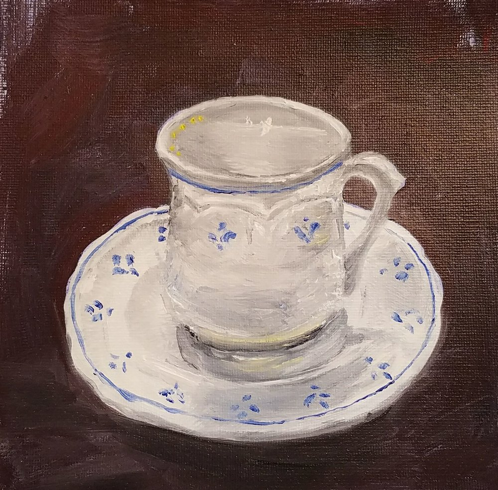 Coffee cup; oil on canvas; 2017