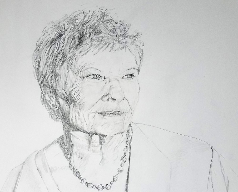 Judy Dench; graphite; 2017