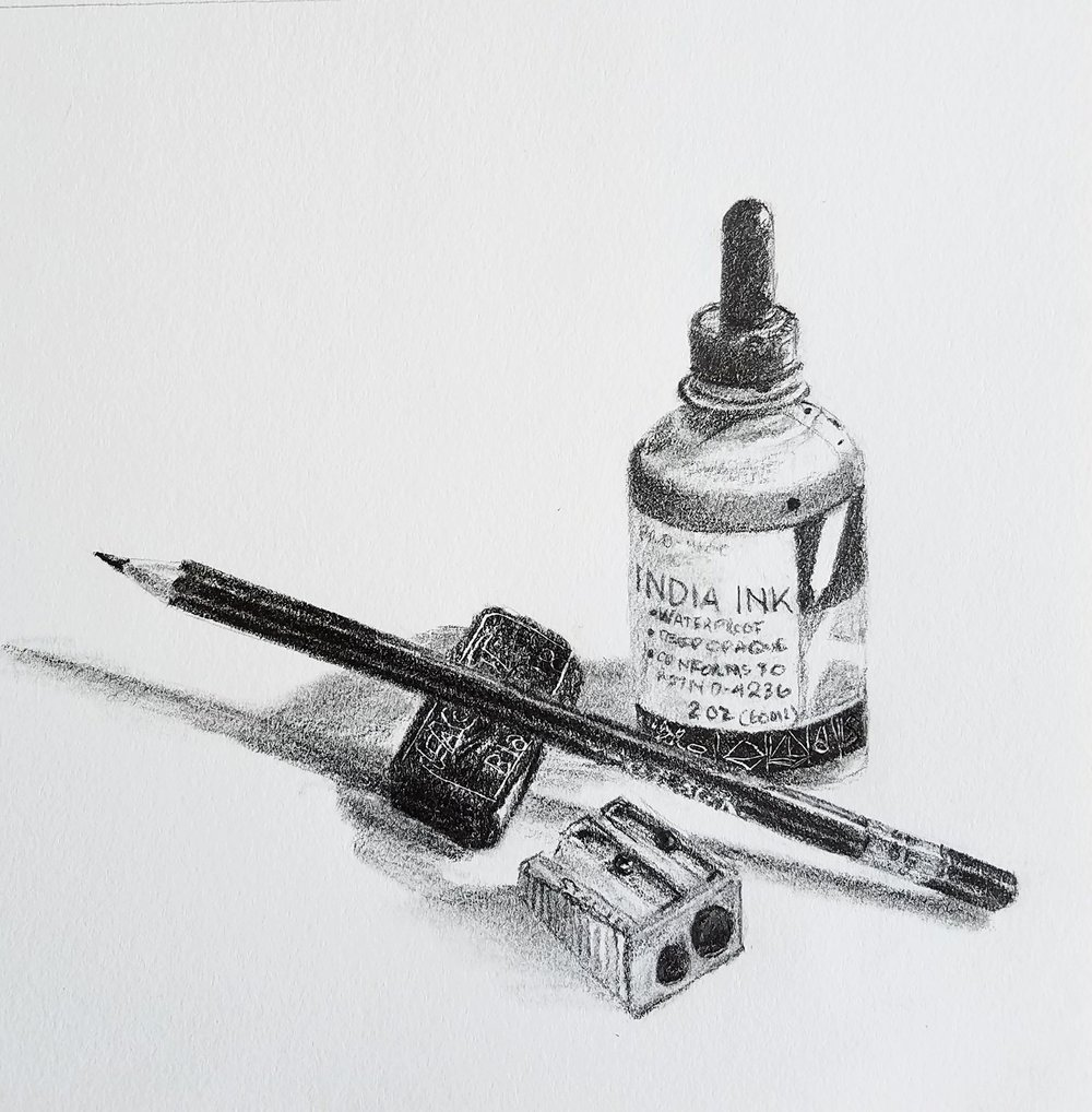 India ink still life; graphite; 2017