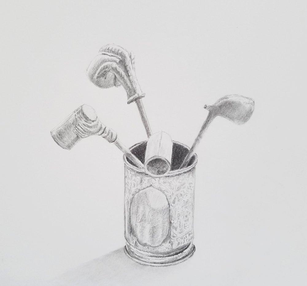 Ceramic pipes in silver cup; graphite; 2017