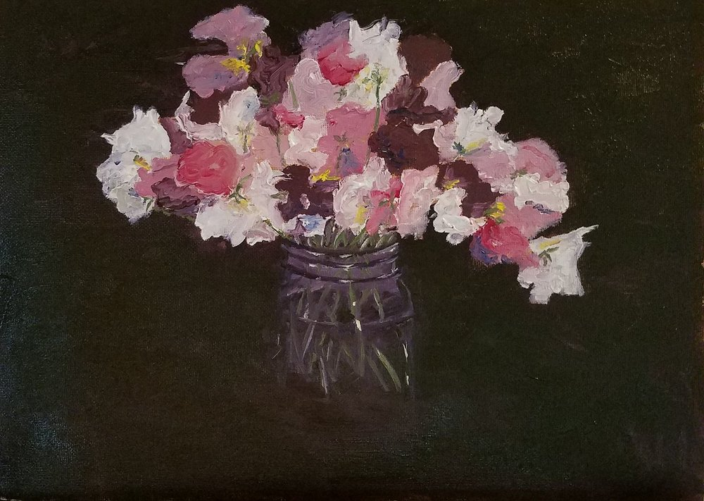 Sweet peas; oil; 2017