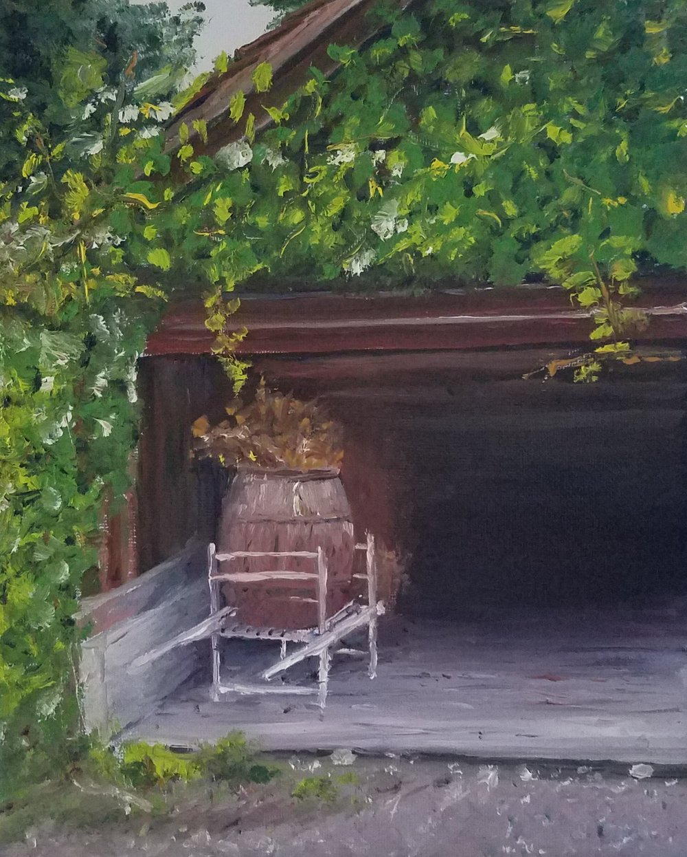 Barrel with straw; oil; 2017