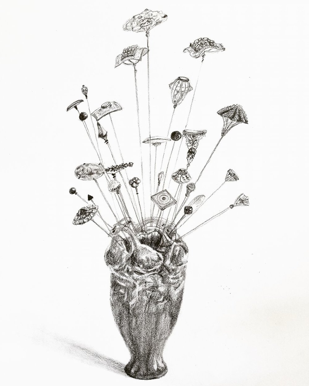 Hat pins in duck vase; graphite; 2017