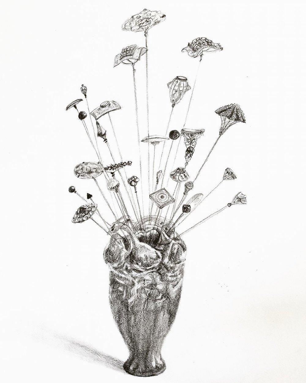 Hat pins in duck vase; graphite; 2017