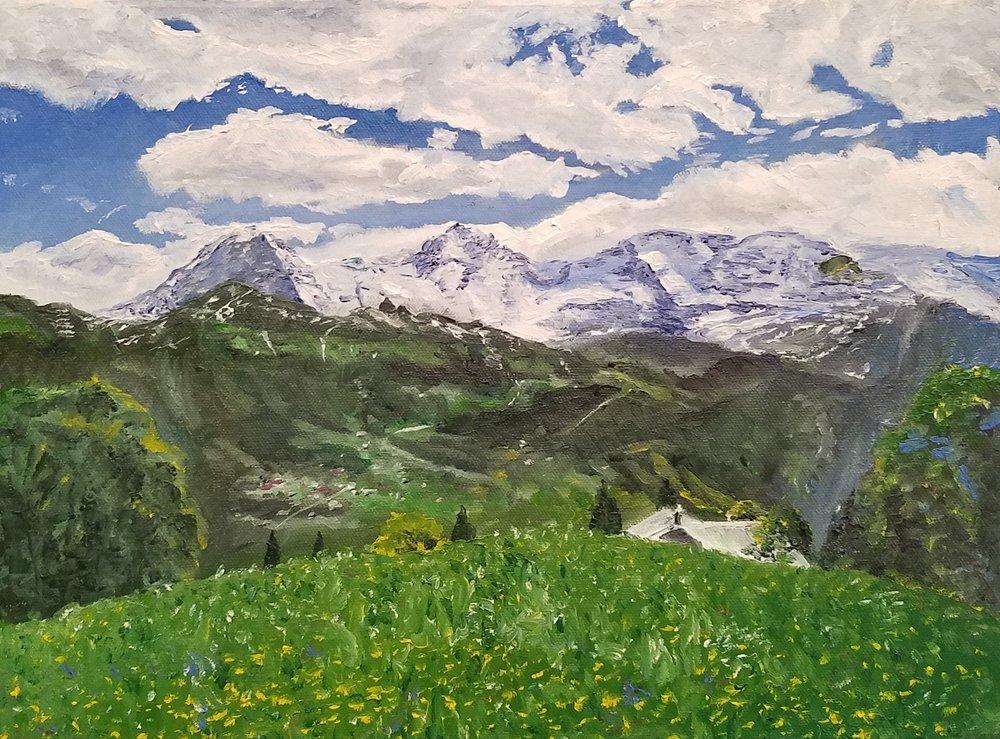 Eiger, Mönch and Jungfrau: oil; 2017