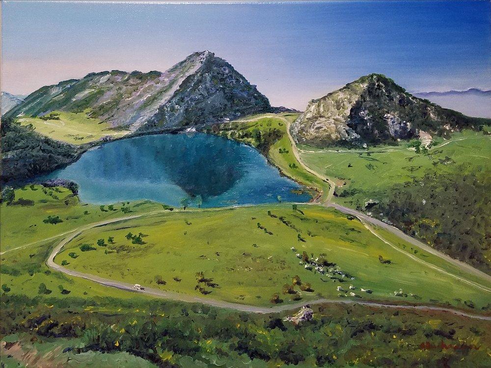 Lago Covadonga; oil; 2017