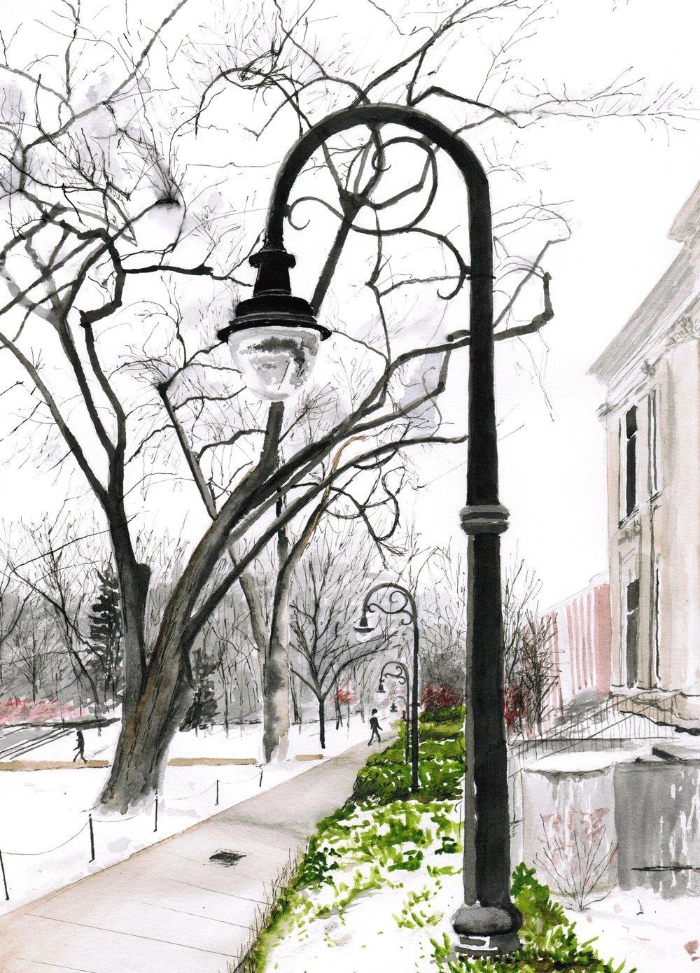 Streetlight; pen, ink and wash; 2017