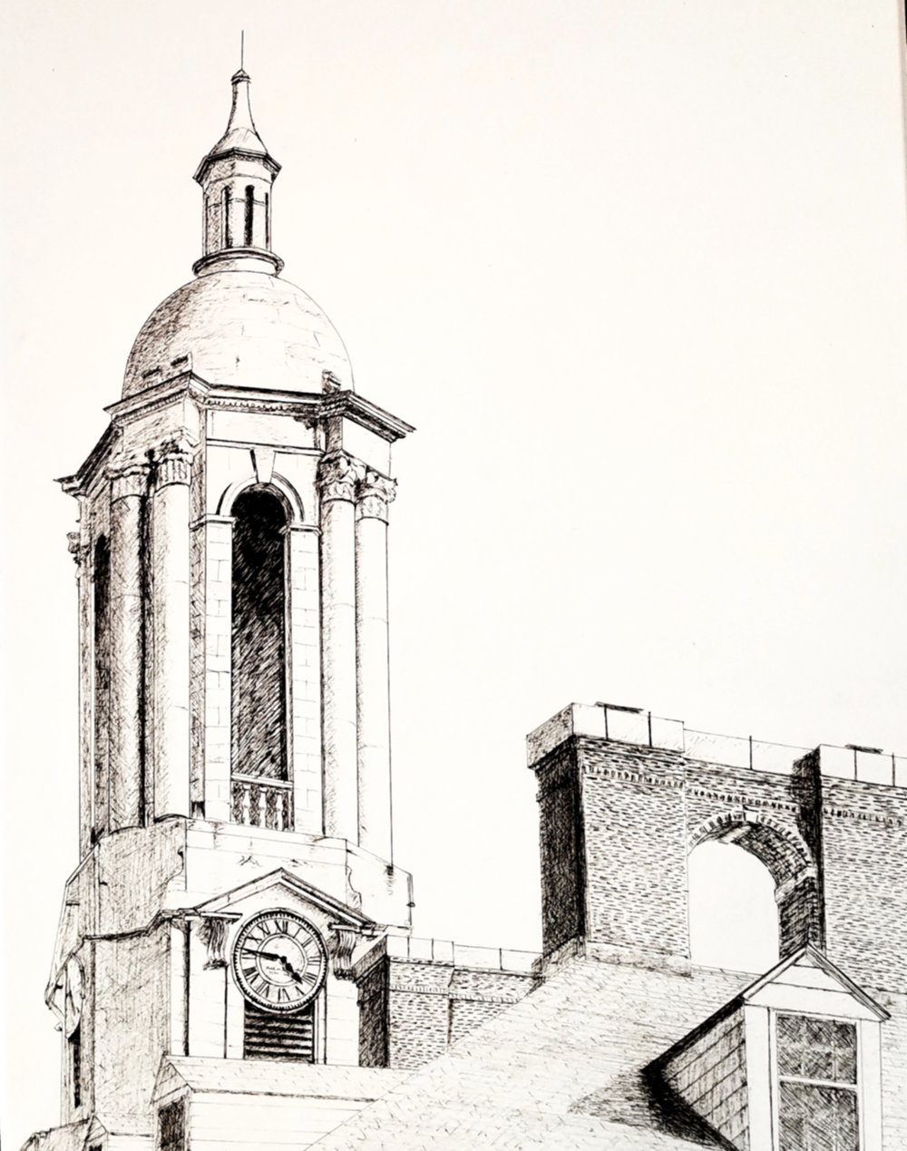 Bell tower of Old Main; pen and ink; 2017