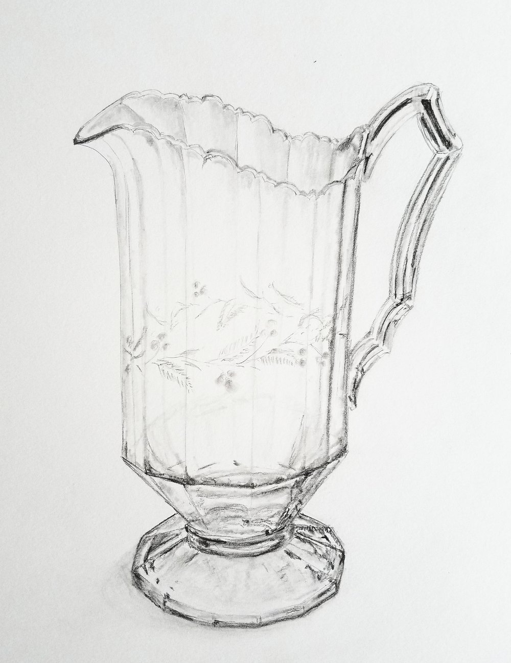 Etched Glass Pitcher; graphite; 2018