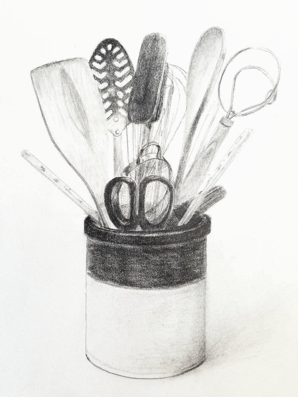 Kitchen Utensils; graphite; 2018