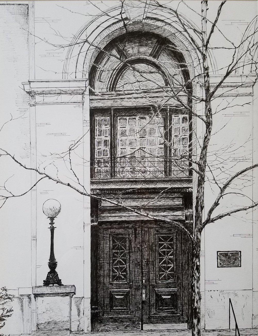Door; pen and ink, 11x14; 2018
