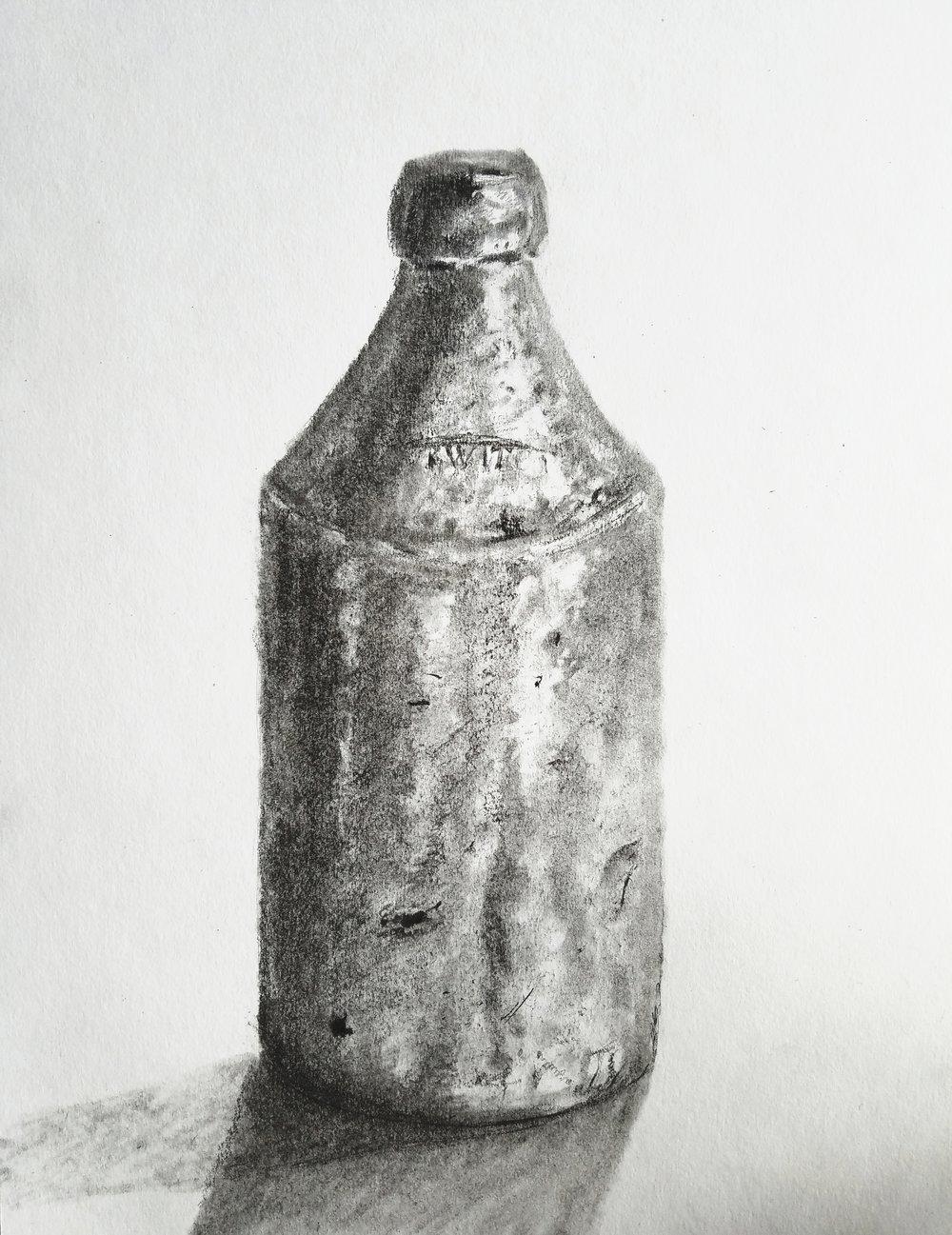 Ceramic Beer Bottle; graphite; 2018