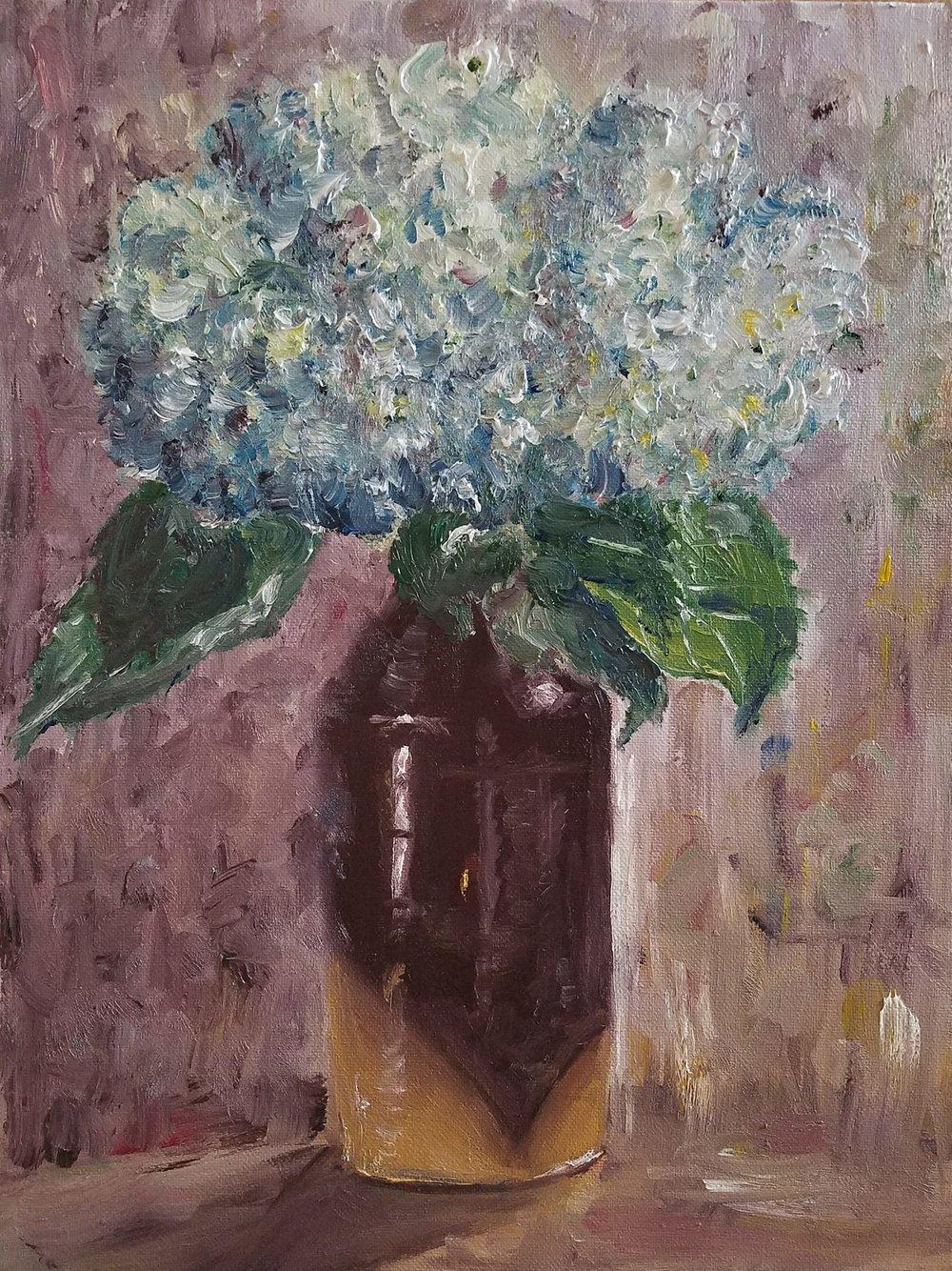 Still Life with Hydrangea; oil; 2018